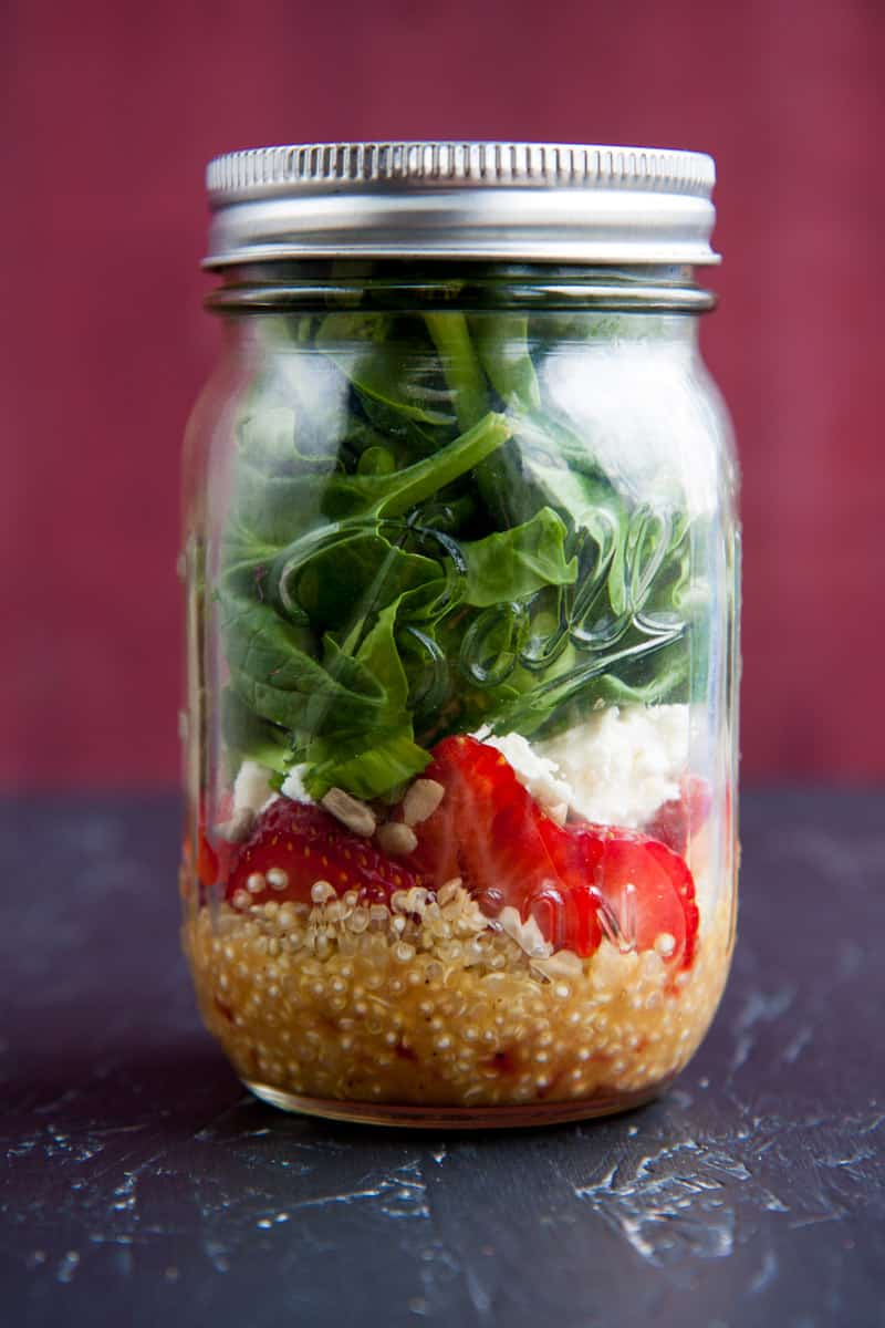 25 Vegetarian Mason Jar Meals to Help You Win at Lunch: Strawberry and Spinach Salads