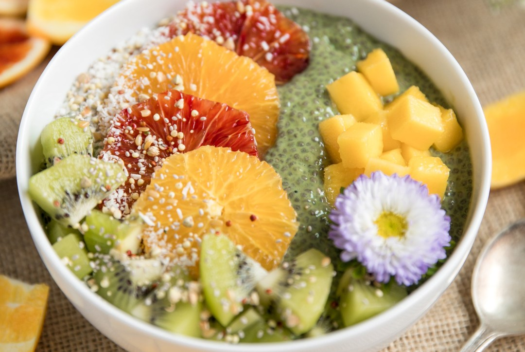 18 Chia Seed Pudding Recipes Everyone Will Love: Matcha Chia Pudding Fruit Bowl