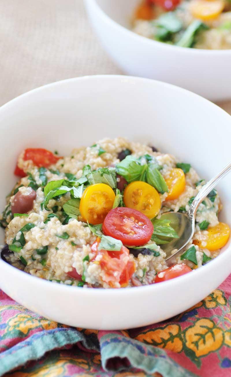 49 Savory Vegan Breakfast Recipes: Savory Vegan Mediterranean Oatmeal