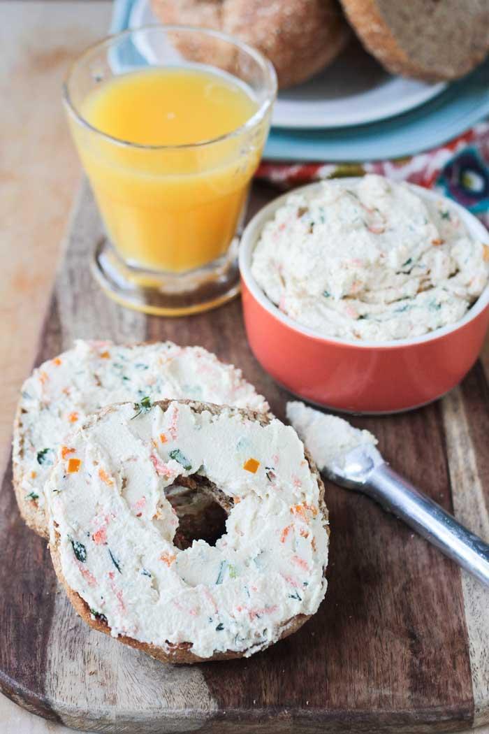 49 Savory Vegan Breakfast Recipes: Veggie Cream Cheese Spread