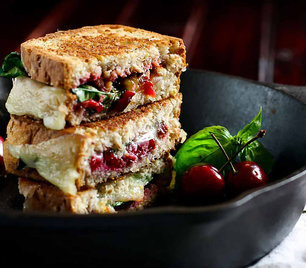 21 Mind-Blowing Grilled Cheese Sandwich Recipes: Cherry Basil and Provolone Gluten Free Grilled Cheese