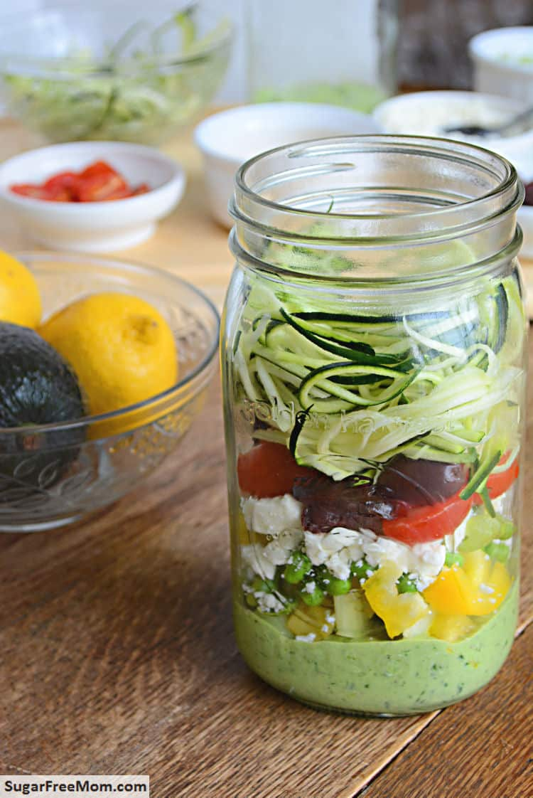 25 Vegetarian Mason Jar Meals to Help You Win at Lunch: Zucchini Salad with Avocado Spinach Dressing
