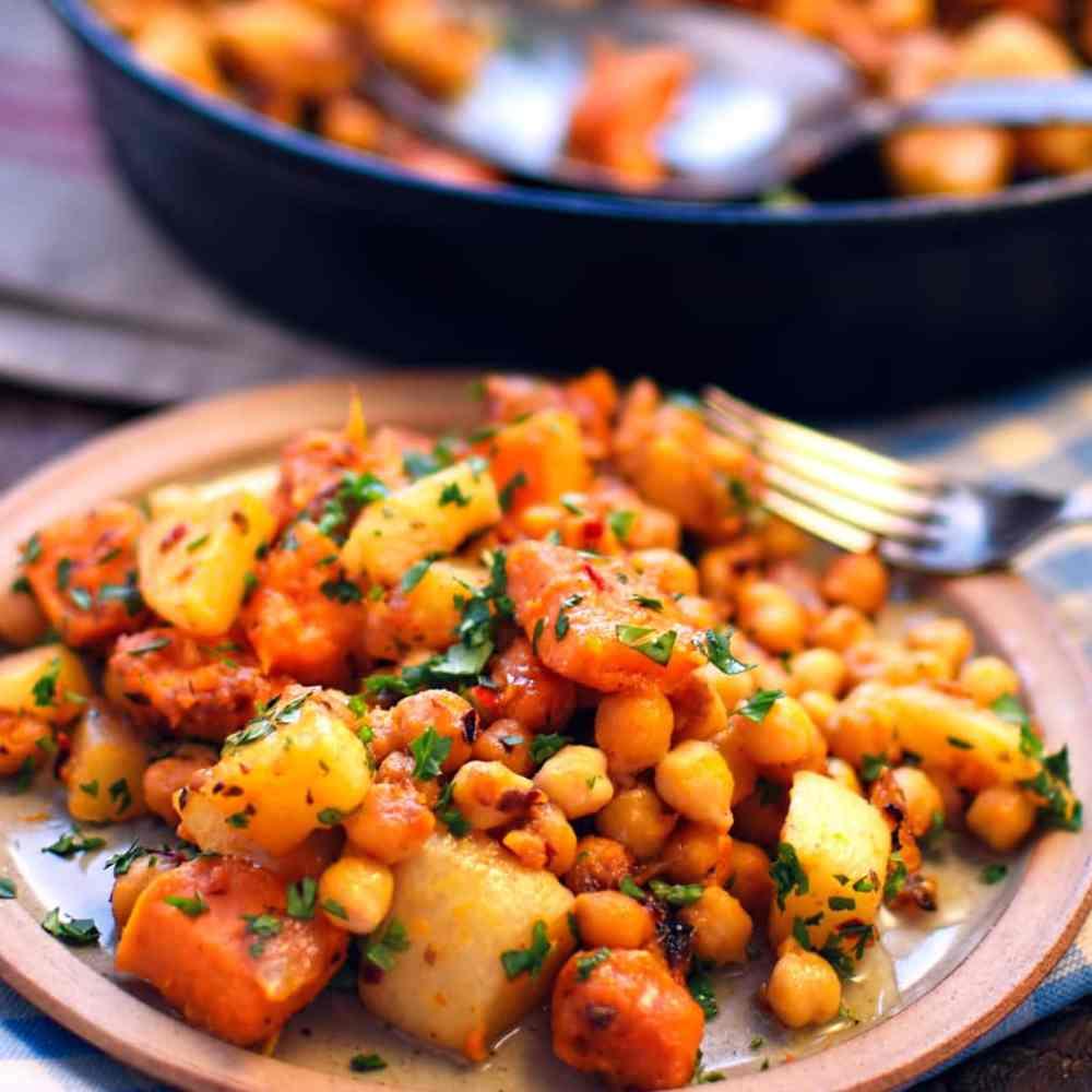 49 Savory Vegan Breakfast Recipes: Sweet Potato, Turnip, and Chickpea Hash