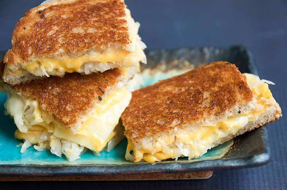 21 Mind-Blowing Grilled Cheese Sandwich Recipes: Grilled Cheese with Sauerkraut and Dijon