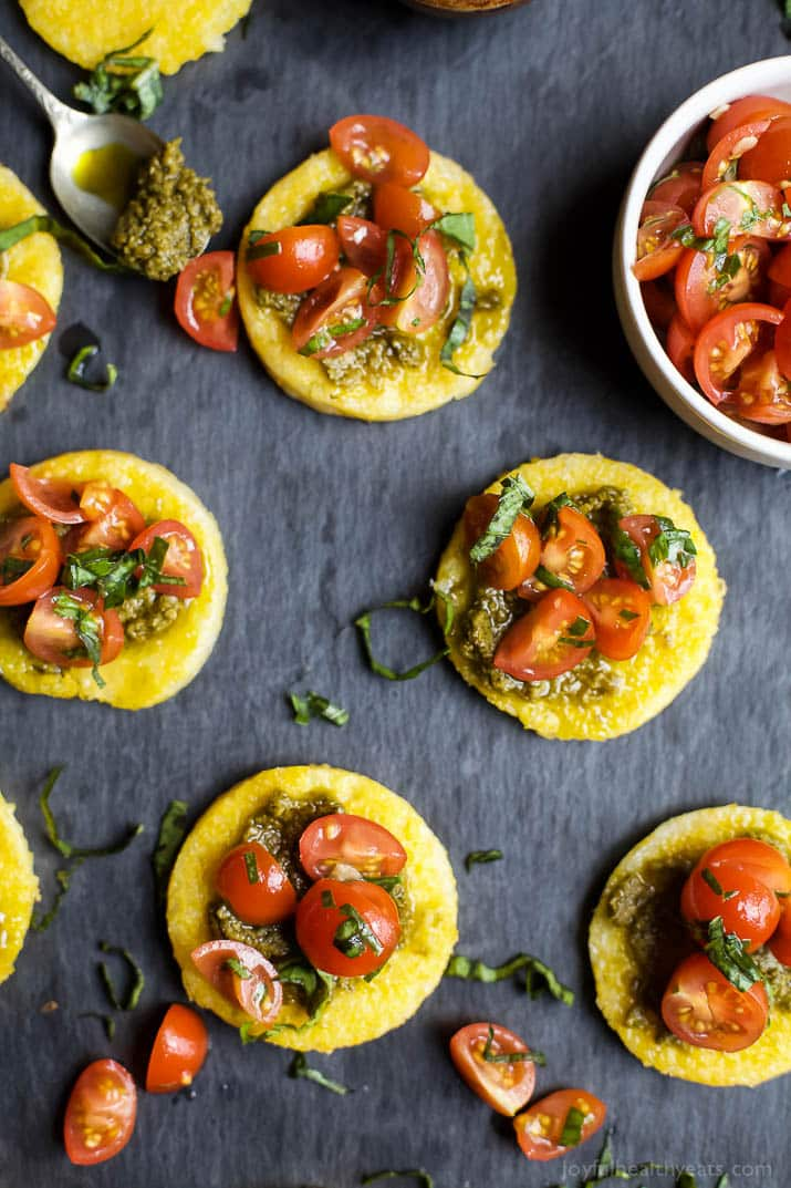 17 Delicious Vegetarian Dinners You Can Make with a Tube of Polenta: Pesto Polenta Bites