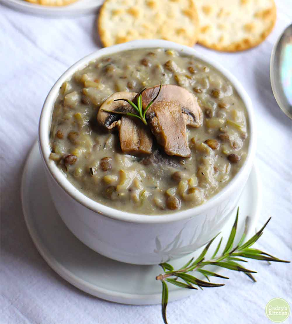 19 Recipes that Swap Lentils for Meat: Creamy Vegan Mushroom Soup With Lentils & Brown Rice