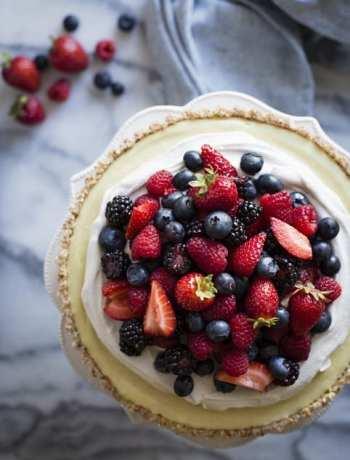No-Bake Lemon Berry Coconut Tart