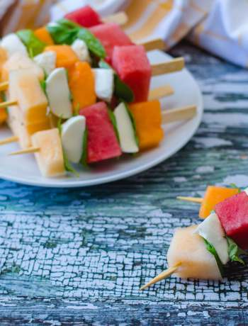 Caprese-Style Melon and Bocconcini Skewers
