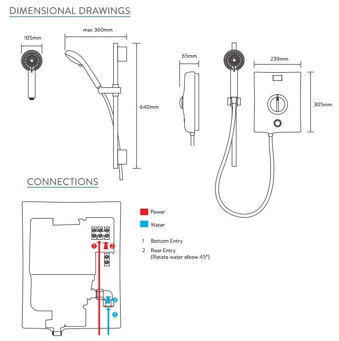 Aqualisa Quartz Electric Shower 9.5kW White & Chrome 5