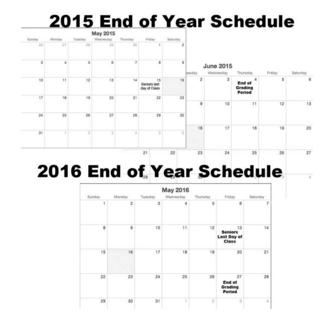 Calendar shifts exam dates