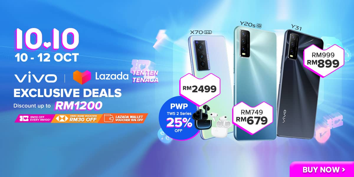 Purchase vivo Devices With Discounts Up To RM1,200 During The vivo x Lazada 10.10 Tenaga Deal