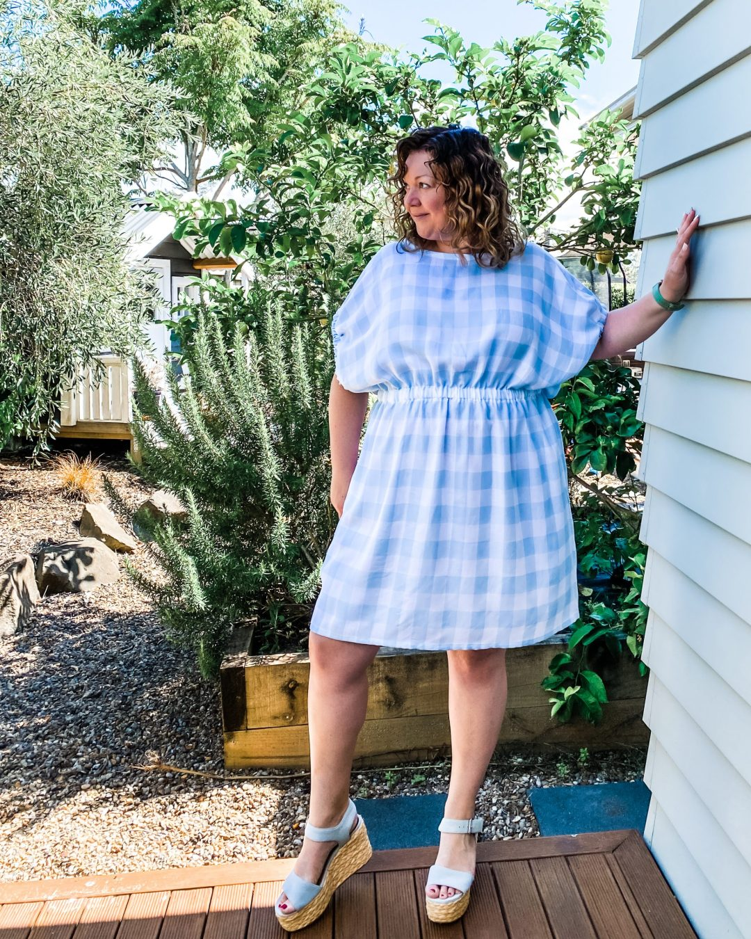 Shameka Dress Pattern - in blue gingham fabric - made by oh sew fearless