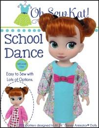 OhSewKat School Dance Dress for Disney Animator pdf doll dress sewing pattern