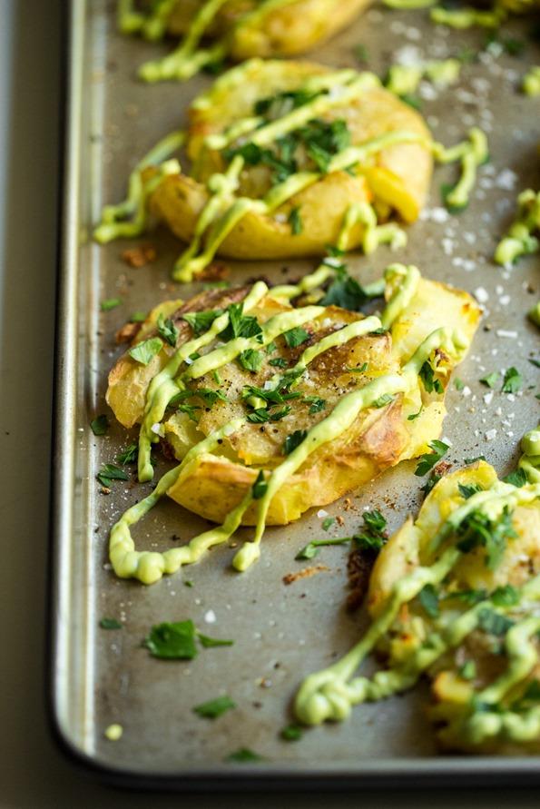 Crispy Smashed Potatoes with Avocado Garlic Aioli — Oh She