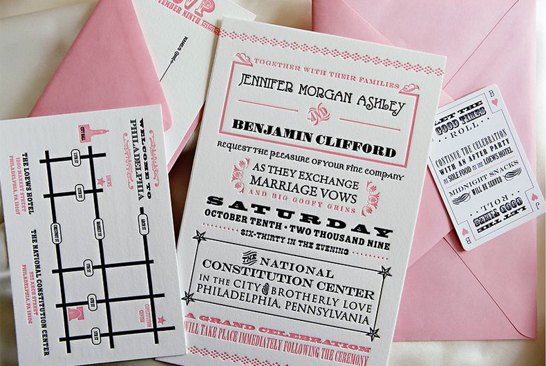 Pink Black White Wedding Invitations