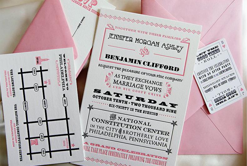 Pink Black White Letterpress Wedding Invitations 500x335