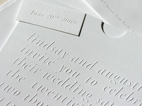 Simple Blind Emboss Wedding Invitations