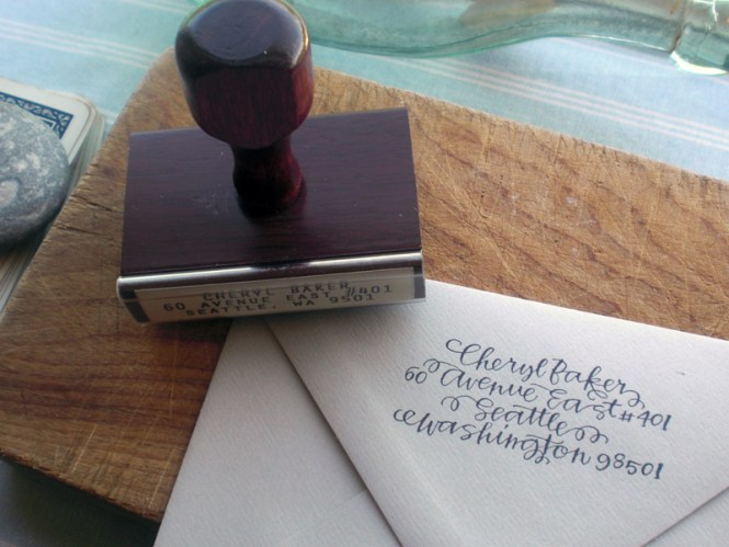 Return Address On Custom Rubber Stamp Envelope Flap For Letterpress Wedding Invitation