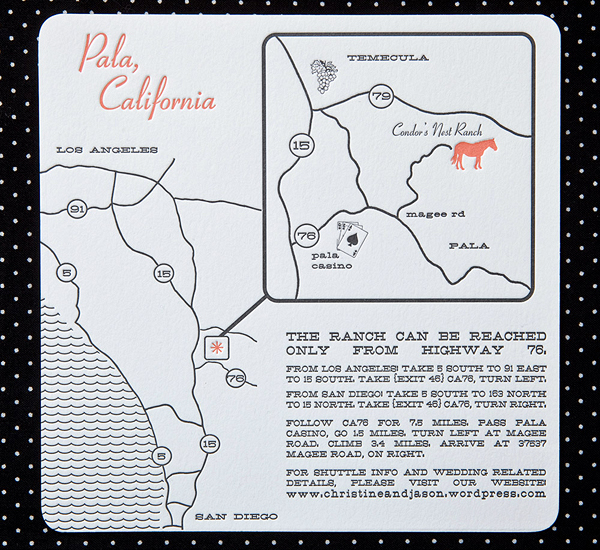 California Ranch Wedding Map Directions