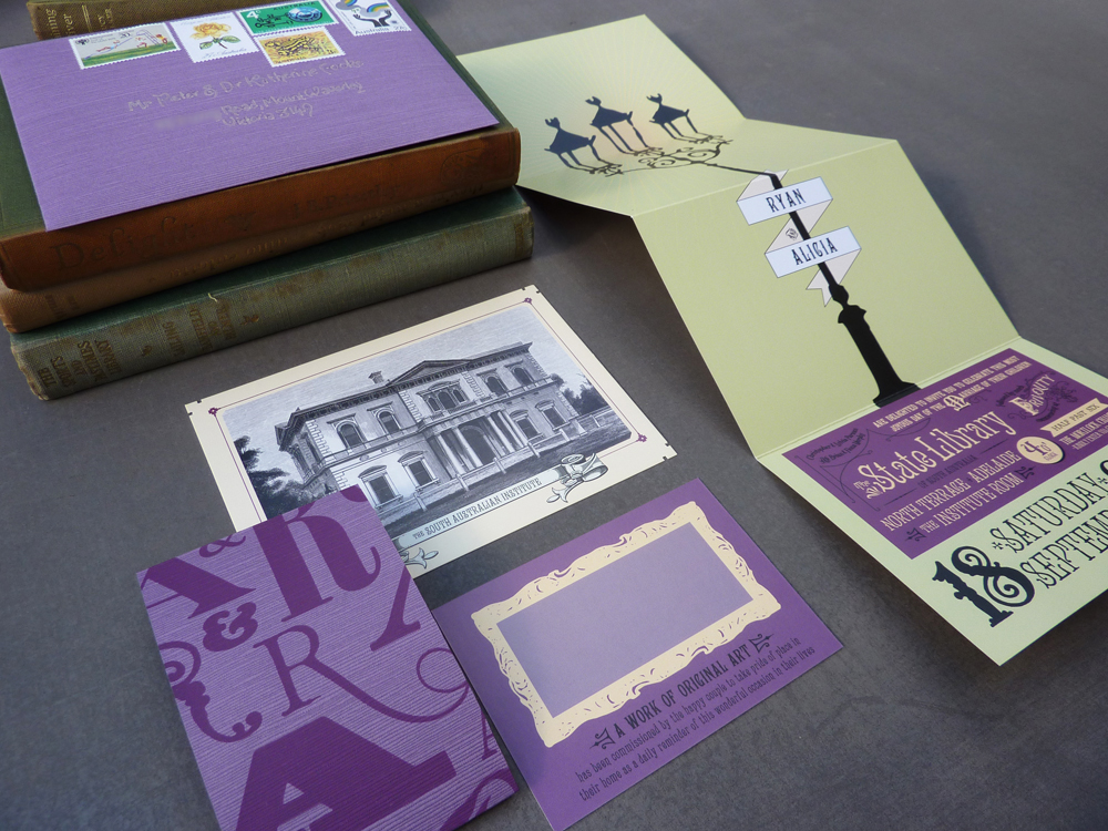 Alicia Ryan's Victorian Library Wedding Invitations