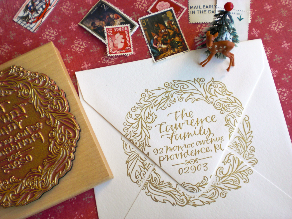 holiday calligraphy stamp