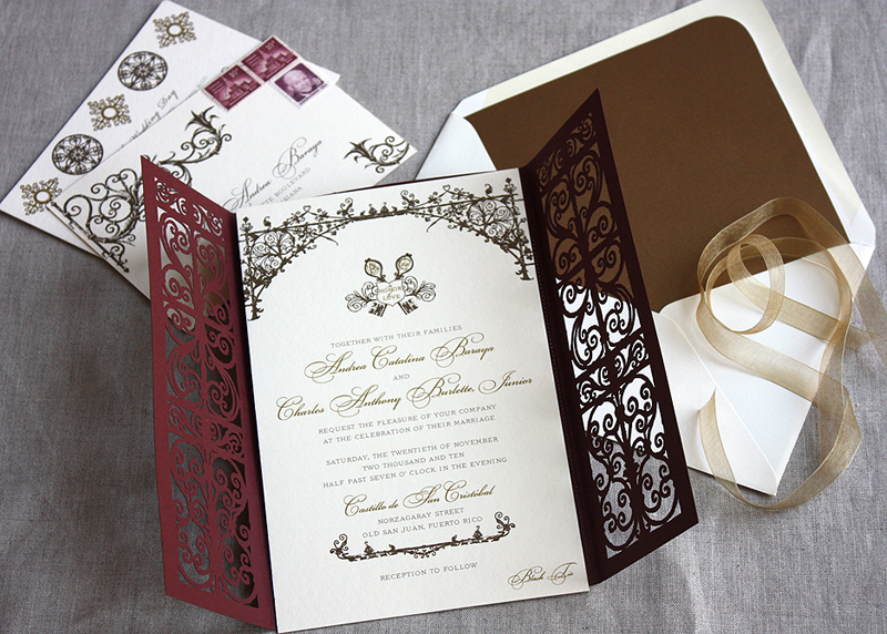 Graceful Tri Fold Laser Cut Pocket Whole Wedding Invitation Invite