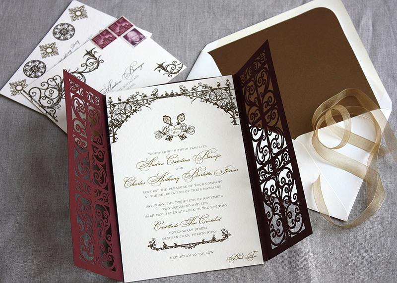Spanish Style Laser Cut Iron Gate Wedding Invitation