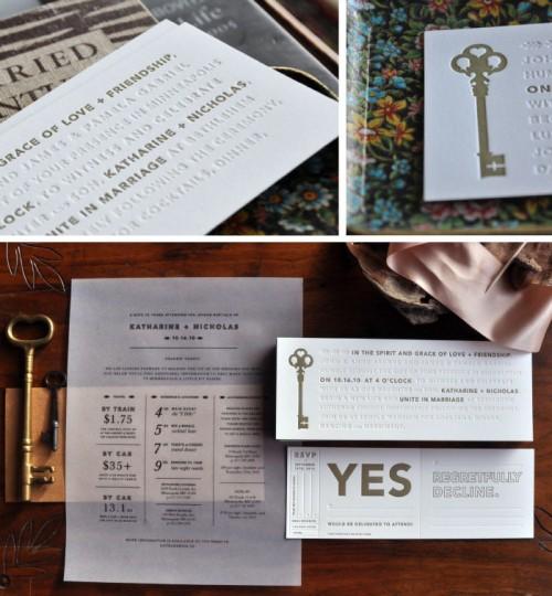 Skeleton Key Letterpress Wedding Invitations by Kate Gabriel