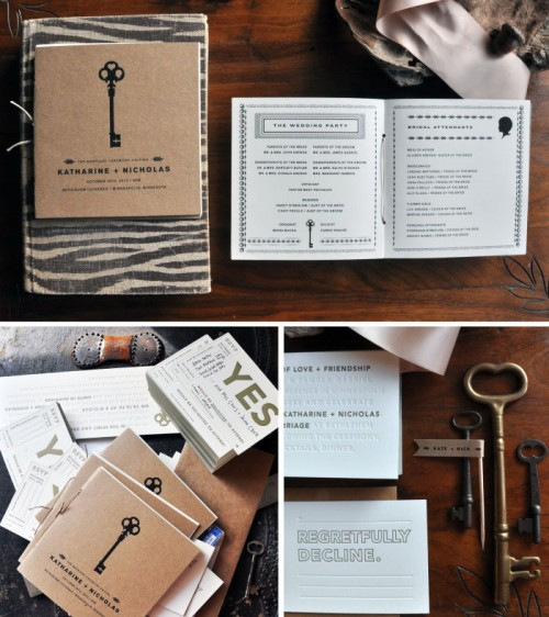 Skeleton Key Wedding Ceremony Programs by Kate Gabriel