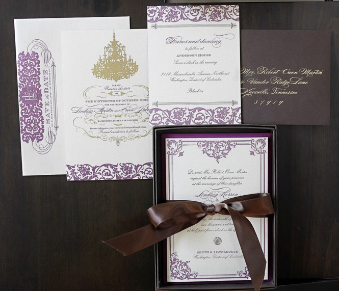 Champagne Black Cream Monogram Scroll Formal Wedding Invitations