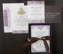 Purple and Gold Wedding Invitation Template