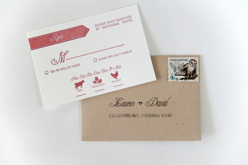 Red White Modern Banner Letterpress Wedding Invitation