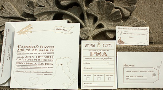 Travel Inspired Italy Letterpress Wedding Invitations Suite 550x303