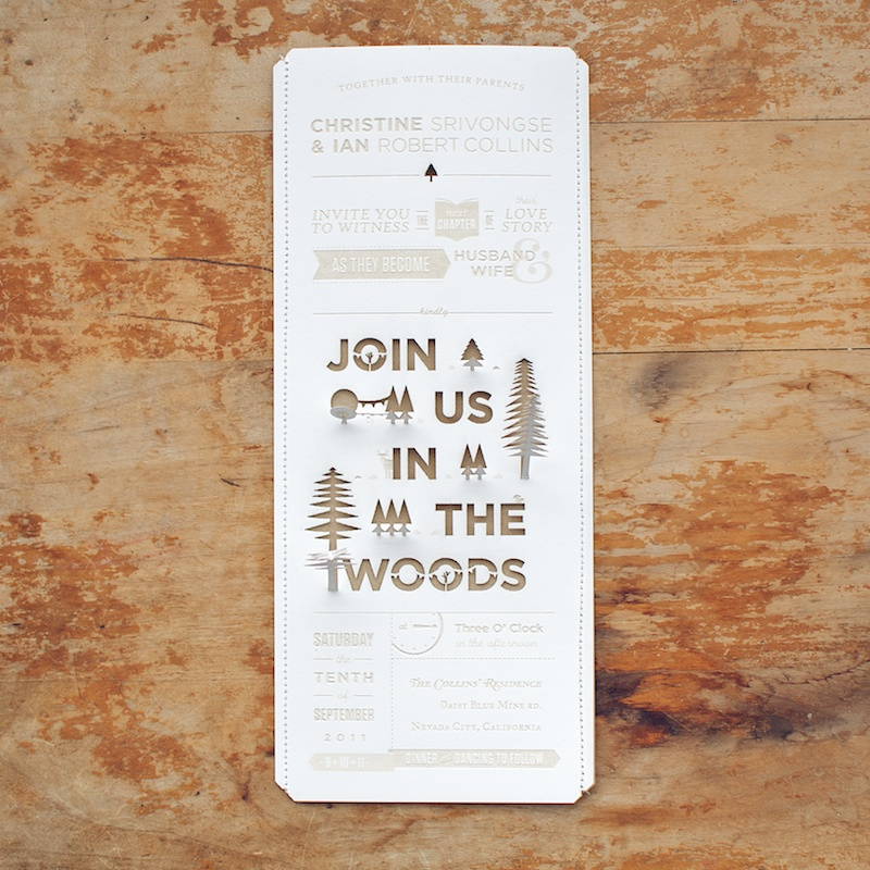 Diy Woodland Cutout Wedding Invitation