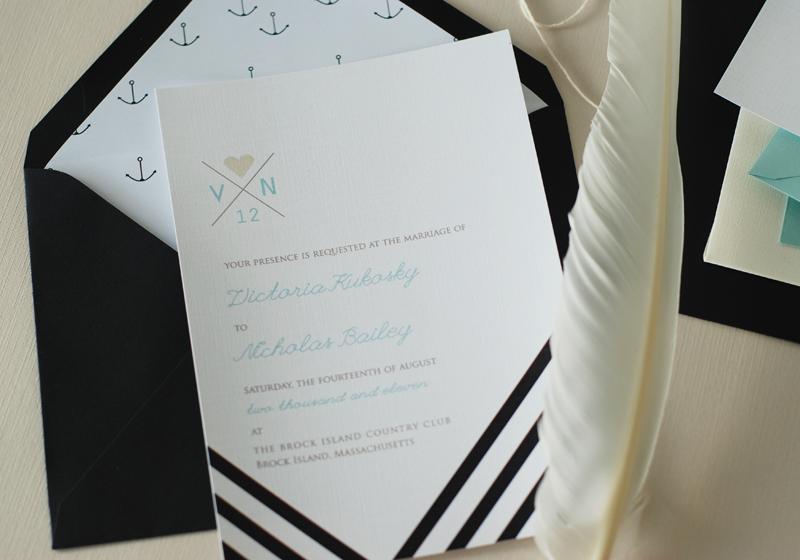 Black White Wedding Invitations: Modern Nautical Black + White Wedding Invitations