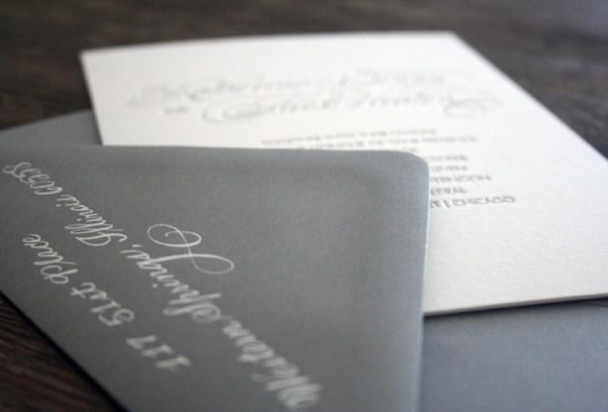 Modern Chicago Map Wood Engraved Wedding Invitation