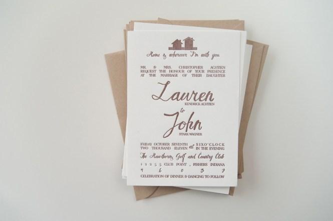 Lauren John S Rustic Home Letterpress Wedding Invitations