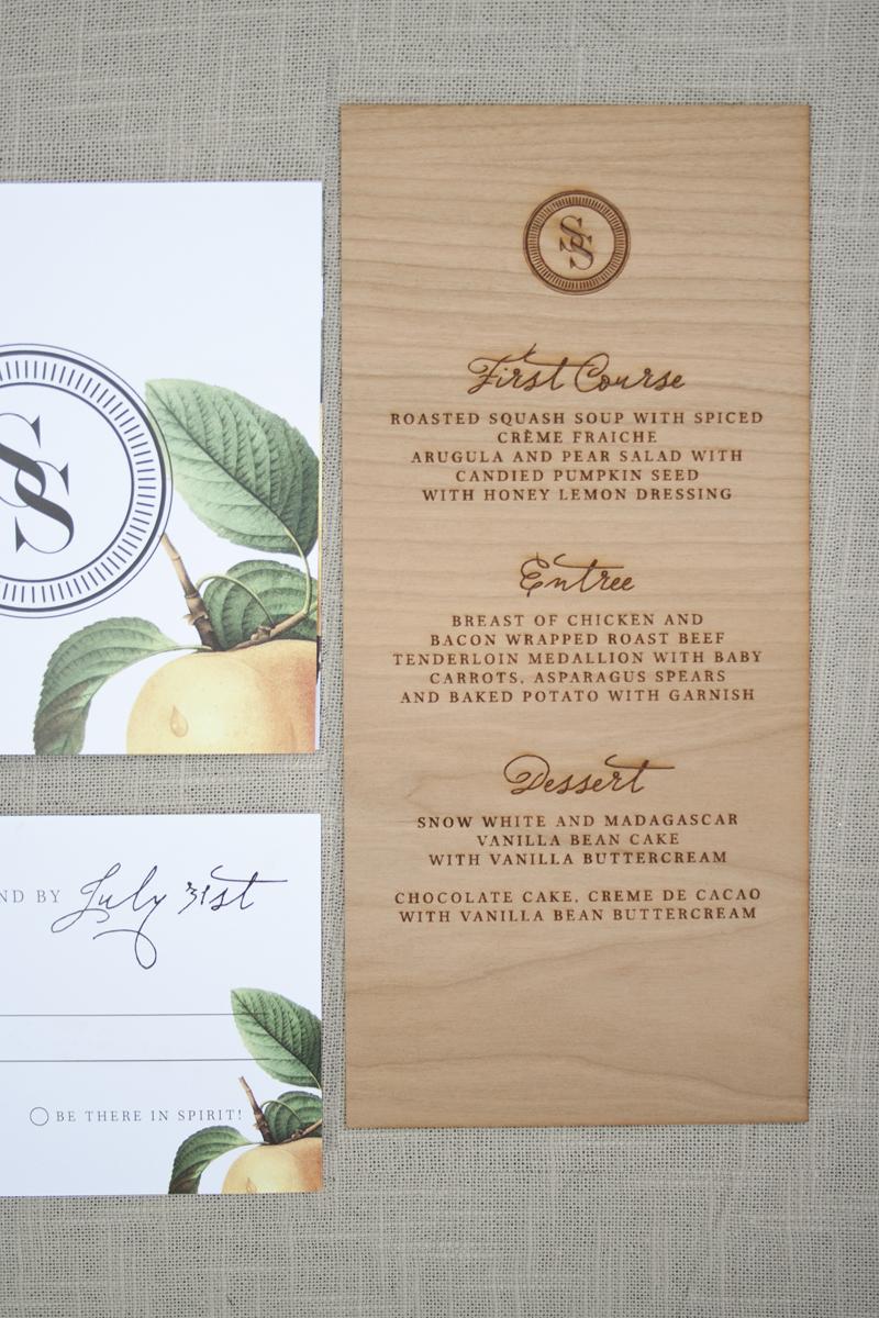 Elegant And Rustic Wood Engraved Wedding Invitations