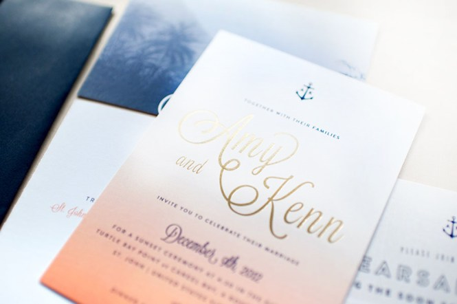 Amy Kenn S Ombre And Gold Foil Nautical Wedding Invitations