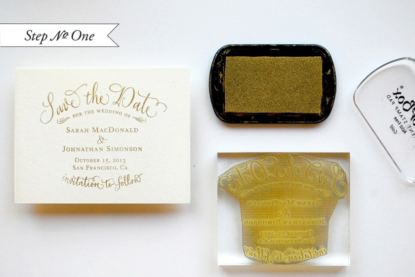 Diy Tutorial Gold Rubber St Save The Dates By Antiquaria Via Oh So Beautiful Paper