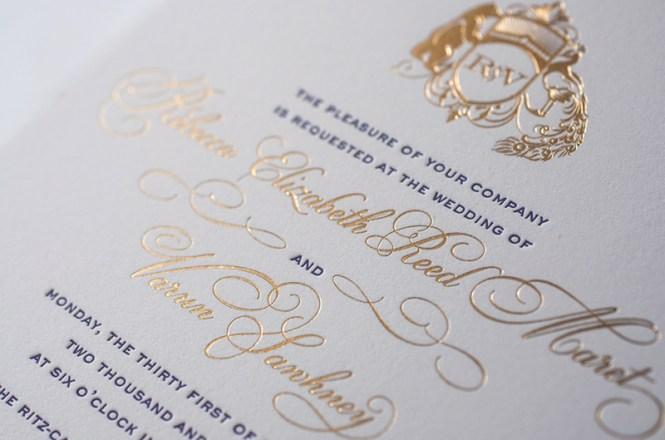 foil wedding invites, Wedding invitations