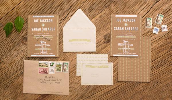 Sarah + Joeu0027s DIY Rustic Screen Printed Wedding Invitations