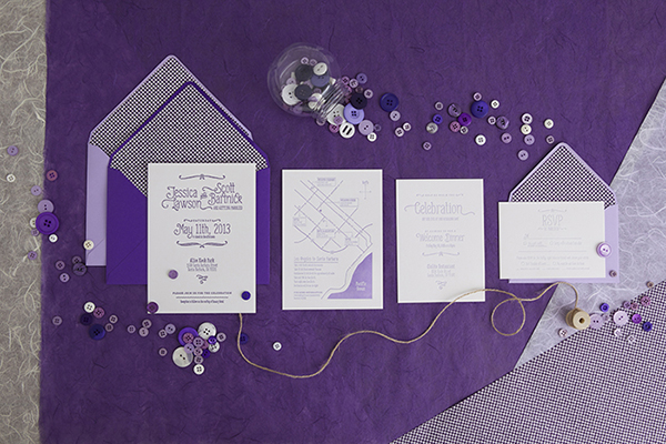Couple Sugar Skull Purple Wedding Invite
