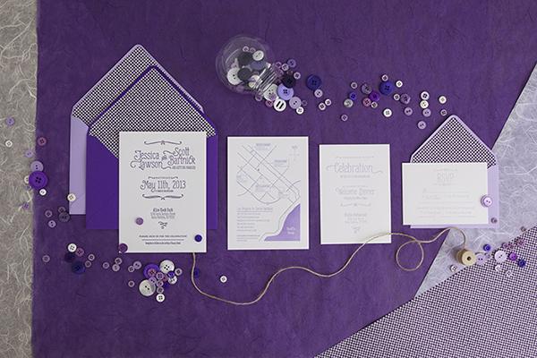 Purple Ombre Letterpress Wedding Invitations By Cristina Pandol Via Oh So Beautiful Paper
