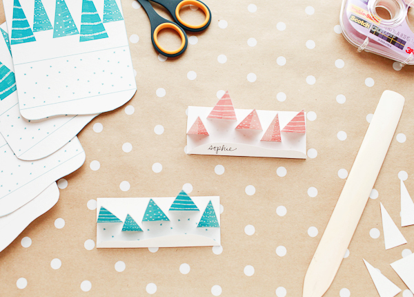 Printable Pop Up Winter Forest Place Cards