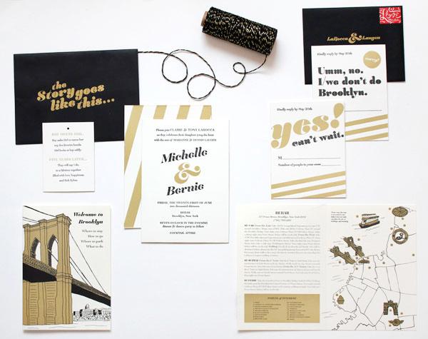 Black Gold Brooklyn Wedding Invitations Meesch