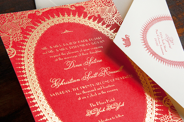 Moulin Rouge Indian Inspired Gold Foil Wedding Invitations
