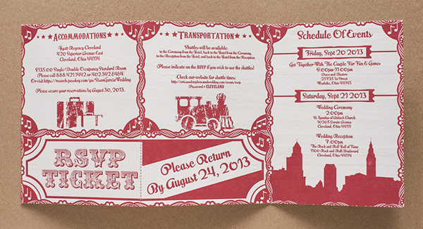 Rock N Roll Letterpress Wedding Invitations Tweedle Press8