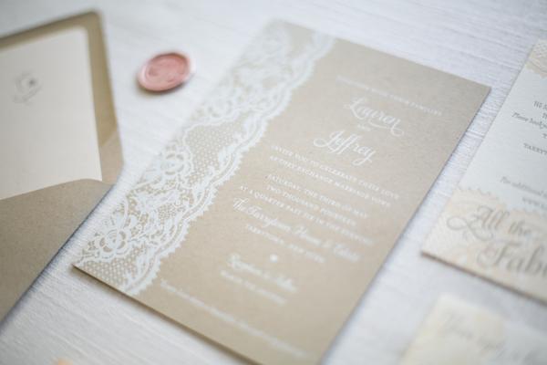 Kraft Paper Lace Wedding Invitations Ruby The Fox