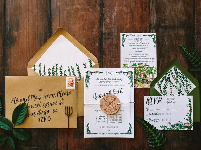 Elegant Fl And Stripe Wedding Invitation